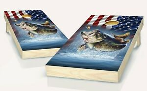 Cornhole Seabass & American Flag Cornhole Board Vinyl Wraps Laminated
