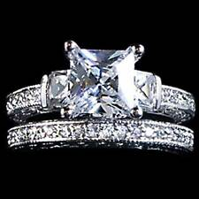 PRINCESS CUT CLEAR CZ WEDDING SET__ SZ-7__925 STERLING SILVER_NF