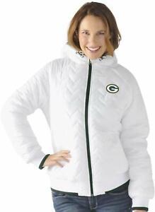Green Bay Packers Womens Drop Back Hooded Full Zip Jacket White by G-III