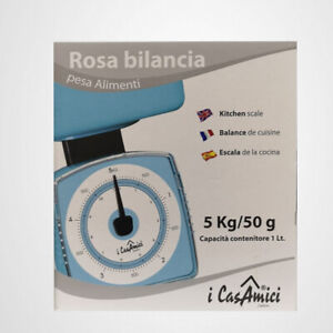 Rosa Bilancia Pesa Alimenti 5kg/50kg Aiuto Cucina Con Contenitore Cpacità 1L