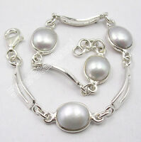 Valentine's Day Presents 925 Sterling Silver AAA FRESH PEARL Bracelet 7 1/2""