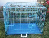 """New 24"""" 2 Door Blue Folding Suitcase Dog Crate Cage Kennel LC ABS Pan"""