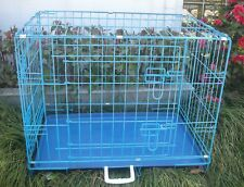 "New 24"" 2 Door Blue Folding Suitcase Dog Crate Cage Kennel LC ABS Pan"
