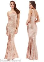 Goddiva Champagne Sequin Fishtail Mermaid Prom Formal Evening Party Maxi Dress