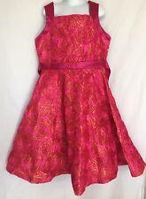Rare Editions Soutache Dress Sz 14 Fuchsia Pink Orange Tulle Layer Floral Roses
