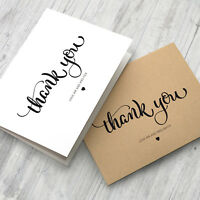 10 x Personalised Wedding Thank You Cards - Folded Format + Envelopes Pack #001
