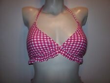 6b9fb0c4520 Jessica Simpson Large 10 12 Pink Bikini Top Swimsuit Pink White Check