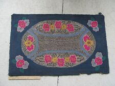 """Antique Colorful Floral Hooked Rug (39 1/2"""")"""