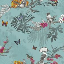 Arthouse Teal Mystical Forest Butterflies and Birds Wallpaper 664801