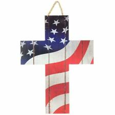 "Patriotic American Flag Cross Sign - 13"" x 10"", Wooden Christian Wall Decor"