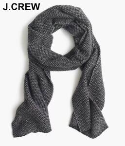 New J.CREW wool scarf grey black bird's eye pattern birds muffler wrap nr 1 NWT