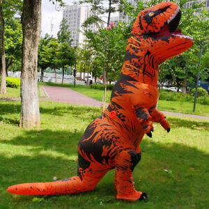 T Rex Inflatable Dinosaur Costume Multi Color Jurassic Blow Up Outfit Adult Kids