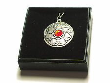 Celtic Interwoven design Pewter Pendant with Red Gem. Boxed Viking,  Norse