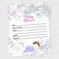 20 Girl Baby Shower Invitations Cards Invites Decorations & Envelopes Baby Girl