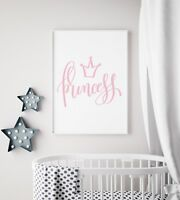 Princess Tiara Pink & White Baby Girl Nursery Print Kids Room Wall Art Picture