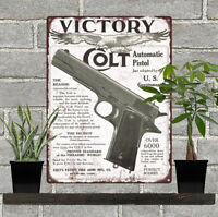 "1911 Colt Firearms Military Pistol Gun Man Cave Art Metal Sign 9x12"" 60675"