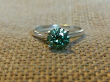 1.6ct green Moisanite diamond engagement ring solid Sterling 925 silver size M
