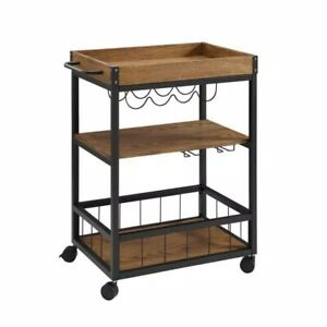"Linon Austin Brown Bar Cart with Wine Rack, 31""W x 18.5""D x 36.5""H"