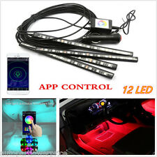 12 LED Interior Floor Atmosphere Neon Lights Strip With Phone App Music Control