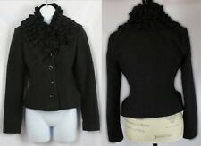 Topshop Black Ruffles Fitted Wool Coat Size 2 Long Sleeves Adorable Casual