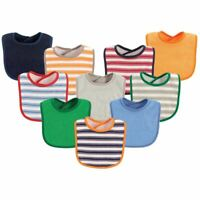 Luvable Friends Boy Feeder Bibs, 10-Pack, Boy Stripes and Solid