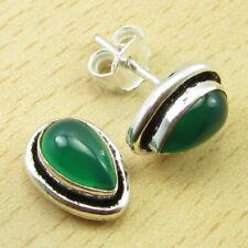 "925 Silver Plated Beautiful Green Onyx Birthday Gift Ideas Stud Earrings 0.4"""