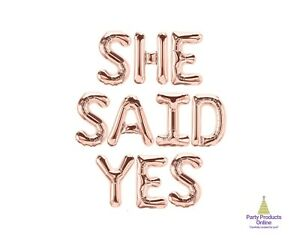 SHE SAID YES Letter Balloon Banner - Gold, Rose Gold and Silver