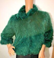 Per Una green faux fur short cropped 3/4 sleeve jacket coat size 12 M&S