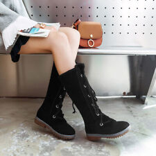 Size 34-46 Womens Winter Fleece Lined Lace Up Gothic Mid Calf Flats Boots Shoes