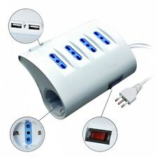 Multipresa elettrica presa multipla da tavolo bianca 5 posti + 2 porte USB