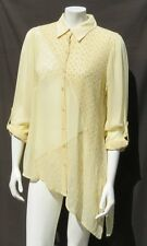 CHICO'S Yellow Semi Sheer Rayon Embroidered Long Shirt Blouse Tunic Top 1 8 10 M