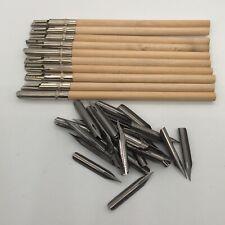 Nice Vintage Wood Stemmed Dip Pens x10 Plus Assorted Spare Nibsx55 New Old Stock