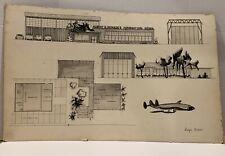 Vintage Architectural Rendering Building Plan Oregon Architect Lidija Balodis