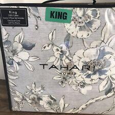 Tahari Floral Blue Brown Grey King Duvet Shams Set 3  ~New~