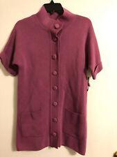 Madison Size Small Fuchsia Pink Knit Short Sleeve Sweater