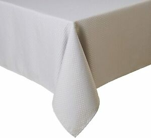 "NEW! Gorgeous! McKenna Microfiber Tablecloth 90"" Round White Spill Proof Luxury"