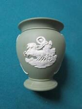 Wedgwood Blue Jasperware vase/urn,classic decoration in white, sage green[jasper
