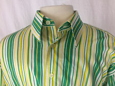 Burberry London Men's Dress Shirt XL Green Striped Multicolor Excellent Condtion