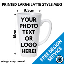 Custom Printed Latte Mug Large • Personalised Print Gift Image Text Photo Mugs