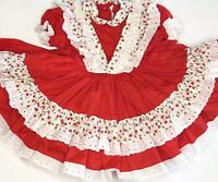 Vintage Betty Oden Size 3 Pageant Floral Red Dress Tulle Ruffles Lace Circle