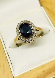 9CT GOLD SAPPHIRE & DIAMOND RING