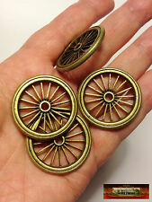M01288a MOREZMORE 4 Miniature Brass Metal Toy Wheels 33 mm Dollhouse Prop A60