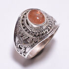 925 Sterling Silver Ring Size US 7.5, Natural Sunstone Gemstone Jewelry CR3356