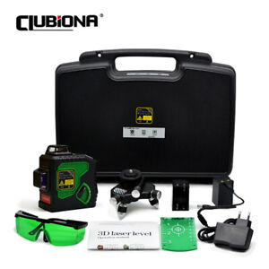 CLUBIONA Upgrade 3D 12 Lines Green Beam Rotary Laser Level Self-Leveling Measure