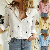 Women Casual Loose Cotton Linen Blouses Long Sleeve Shirts Plus Size Tops