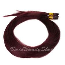 100 Pre Bond I Stick Tip Micro Ring Straight Remy Human Hair Extensions Dark Red