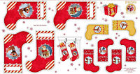 """RUDOLPH THE RED NOSE REINDEER & FRIENDS CHRISTMAS STOCKING 23""""x44"""" FABRIC PANEL"""