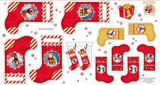 "RUDOLPH THE RED NOSE REINDEER & FRIENDS CHRISTMAS STOCKING 23""x44"" FABRIC PANEL"