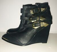 VINCE CAMUTO VC- Kannon Black Suede Buckle Wedge Ankle Boot (SIZE 6.5M)