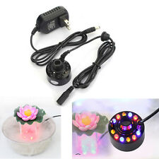 Ultrasonic 12 LED Mist Maker Fogger Atomizer Water Fountain Pond Air Humidifier